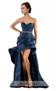 Navy Blue Charmeuse Princess Sweetheart Floor Length Prom Dress(JT3641)