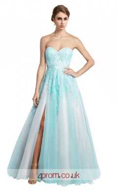 Light Blue Tulle A-line Sweetheart Floor Length Prom Dress With Split Side(JT3647)