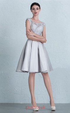 Silver Satin Lace A-line Scalloped Short Sleeve Knee-length Prom Dress(JT3653)