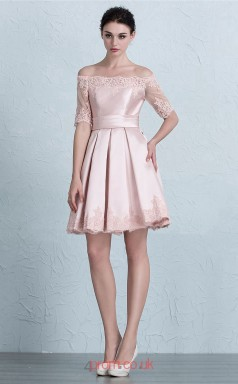 Blushing Pink Satin Lace A-line Off The Shoulder Short Sleeve Short/Mini Prom Dress(JT3654)