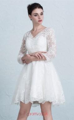 White Lace A-line V-neck 3/4 Length Sleeve Short/Mini Prom Dress(JT3656)