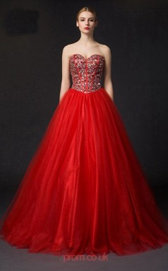 Ruby Tulle A-line Sweetheart Floor Length Prom Dress(JT3660)