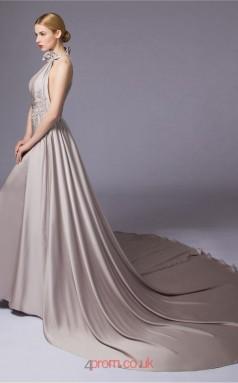 Silver Satin Chiffon A-line Halter Floor Length Prom Dress(JT3663)