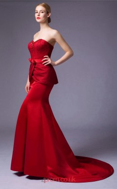 Burgundy Satin Lace Mermaid Sweetheart Floor Length Prom Dress(JT3668)