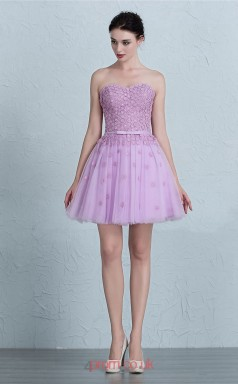 Lilac Tulle Lace A-line Illusion Short/Mini Prom Dress(JT3673)