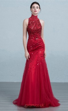 Burgundy Tulle Mermaid High Neck Floor Length Prom Dress(JT3682)
