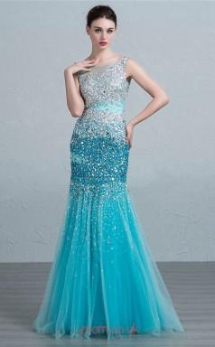 Turquoise Tulle Mermaid Scoop Floor Length Prom Dress(JT3684)