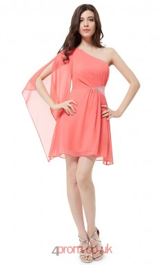 Watermelon Chiffon A-line One Shoulder Short/Mini Junior Prom Dress(JT3692)