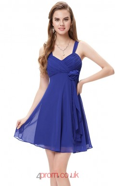 Blue Chiffon A-line Straps Short/Mini Junior Prom Dress(JT3693)