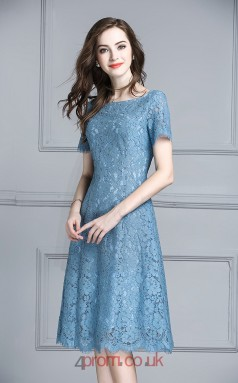Corn Flower Blue Lace A-line Bateau Short Sleeve Knee-length Junior Prom Dress(JT3696)