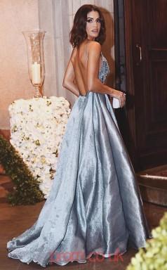 Sky Blue Taffeta V-neck A-line Long Celebrity Dress(JT3703)