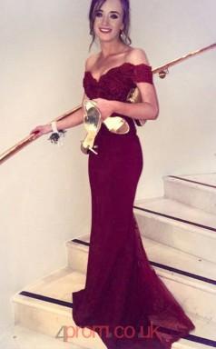 Dark Burgundy Lace Tulle Off The Shoulder Short Sleeve Trumpet/Mermaid Long Celebrity Dress(JT3711)