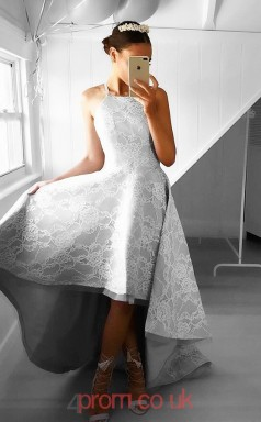 Silver Lace Straps Princess Long Celebrity Dress(JT3713)