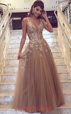 Light Brown Tulle Lace V-neck A-line Floor-length Sex Prom Dress(JT3719)