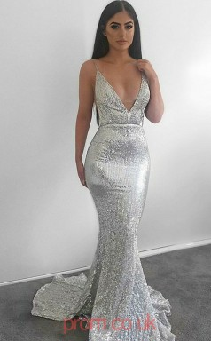 cdc702dbac3 Silver Sequined V-neck Trumpet Mermaid Long Sex Prom Dress(JT3720)