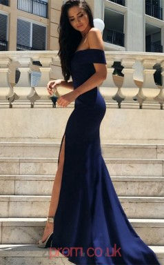 Navy Blue Satin Off The Shoulder Short Sleeve Trumpet/Mermaid Long Celebrity Dress(JT3722)