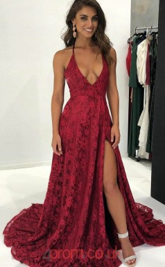 Burgundy Lace Halter V-neck A-line Long Sex Prom Dress(JT3725)