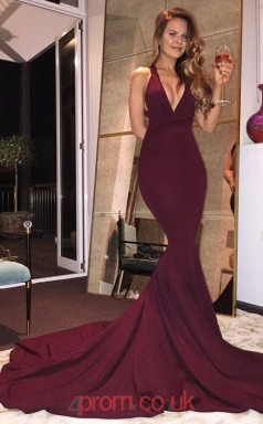 Dark Burgundy Satin Chiffon V-neck Trumpet/Mermaid Long Sex Prom Dress(JT3727)