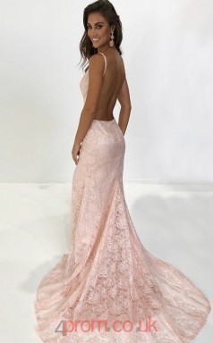 Blushing Pink Lace Halter V-neck Trumpet/Mermaid Long Sex Prom Dress(JT3729)