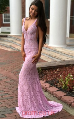 Pink Lace V-neck Trumpet/Mermaid Long Sex Prom Dress(JT3744)