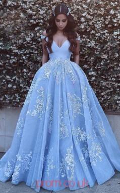 Light Blue Organza Off The Shoulder Short Sleeve Princess Long Sex Prom Dress(JT3745)