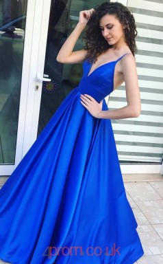 Light Royal Blue Satin V-neck Straps Princess Long Sex Prom Dress(JT3746)