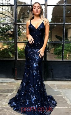 Dark Navy Lace Tulle V-neck Straps Trumpet/Mermaid Long Sex Prom Dress(JT3747)