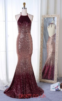 Dark Burgundy Sequined Halter Trumpet/Mermaid Long Celebrity Dress(JT3748)