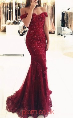 Dark Burgundy Tulle Lace Off The Shoulder Short Sleeve Trumpet/Mermaid Long Celebrity Dress(JT3749)