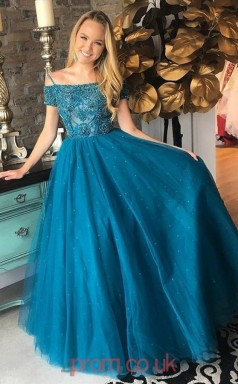 ebc2541b22 Dim Turquoise Tulle Off The Shoulder Short Sleeve Princess Long Celebrity  Dress(JT3755)