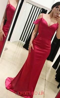 Red Charmeuse Off The Shoulder Short Sleeve Trumpet/Mermaid Long Celebrity Dress(JT3756)