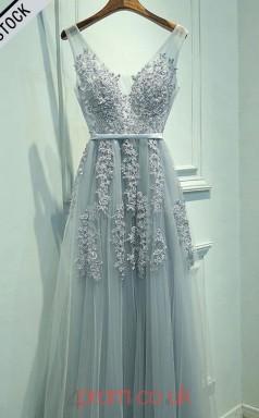 Light Blue Tulle Lace V-neck A-line Long Celebrity Dress(JT3760)