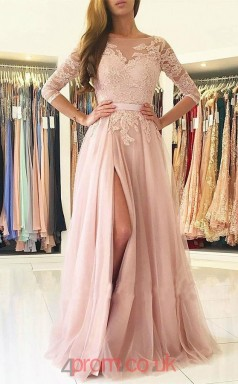 Nude Pink Tulle Lace Bateau Half Sleeve A-line Long Celebrity Dress(JT3761)