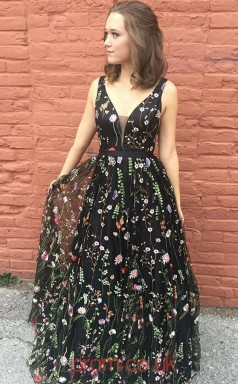 Multipatterned 30D Chiffon V-neck A-line Long Celebrity Dress(JT3763)