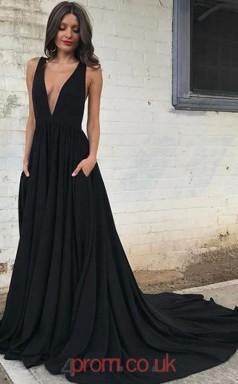Black Chiffon V-neck A-line Long Sex Prom Dress(JT3764)