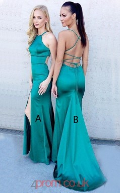 Turquoise Charmeuse Halter Trumpet/Mermaid Long Sex Prom Dress(JT3766)
