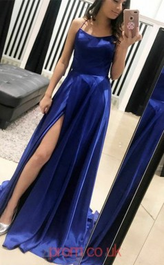 Royal Blue Satin Chiffon Halter A-line Long Celebrity Dress(JT3767)