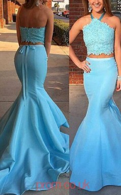 Pool Satin Halter Trumpet/Mermaid Long Two Piece Prom Dress(JT3770)