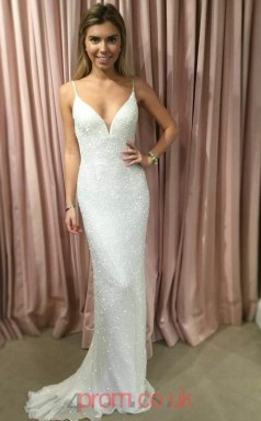 Ivory Chiffon Lace V-neck Trumpet/Mermaid Long Sex Prom Dress(JT3774)