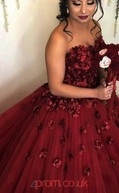Dark Burgundy Tulle Sweetheart Princess Long Celebrity Dress(JT3775)
