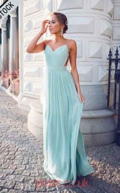 Light Blue Chiffon V-neck Straps A-line Long Celebrity Dress(JT3776)