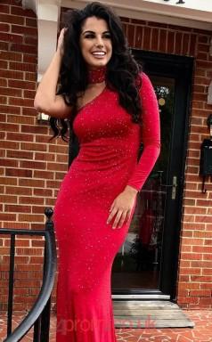 Red Spandex One Shoulder Long Sleeve Trumpet/Mermaid Long Celebrity Dress(JT3784)