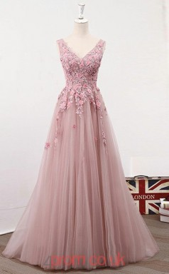 Pink Tulle Lace V-neck A-line Long Celebrity Dress(JT3786)