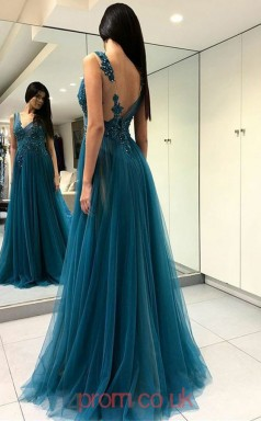 Turquoise Tulle Lace V-neck A-line Long Celebrity Dress(JT3789)