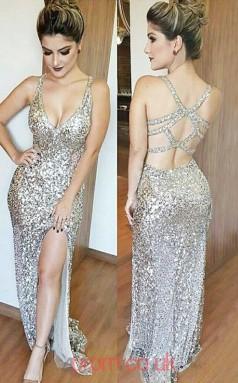 Silver Sequined V-neck Trumpet/Mermaid Long Sex Prom Dress(JT3795)