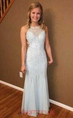 Sky Blue Tulle A-line Bateau Floor-length Prom Dress(JT3818)