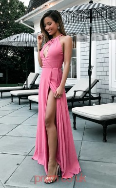 Pink Satin Chiffon Trumpet/Mermaid Halter Floor-length Sex Prom Dress(JT3820)
