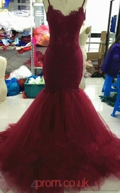 Burgundy Tulle Lace A-line Straps Sweep Train Prom Dress(JT3826)