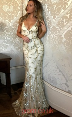 Champange Lace Trumpet/Mermaid V-neck Sweep Train Prom Dress(JT3837)