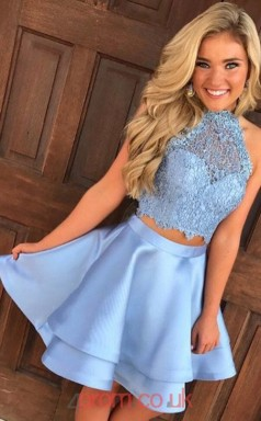Light Blue Charmeuse Lace A-line Halter Mini Two Piece Cocktail Dress(JT3840)